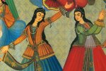 Persian Women dancing From a wall painting at Hasht Behesht Palace (Palace of 8 heavens)